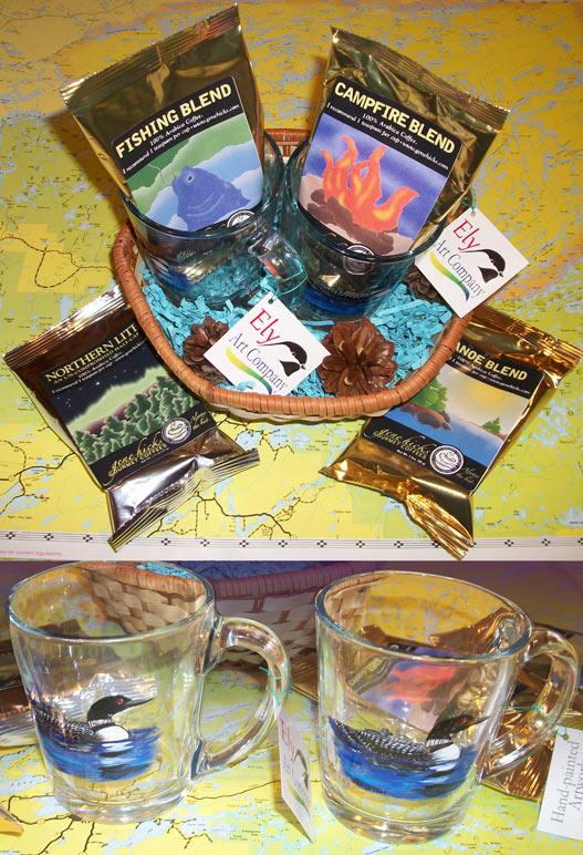 loon mugs in a basket