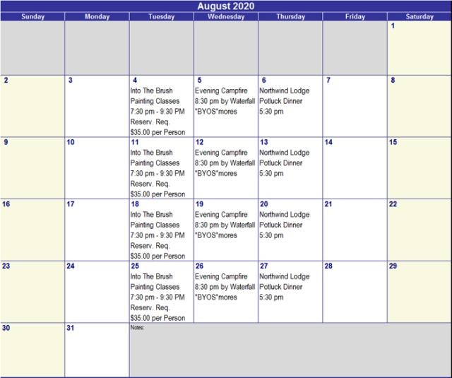 August 2020 Activities