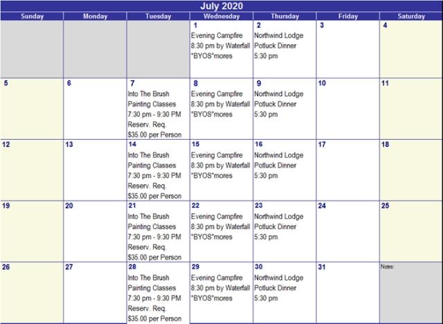 July 2020 Activities