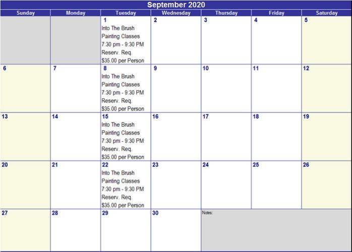Sept 2020 Activities
