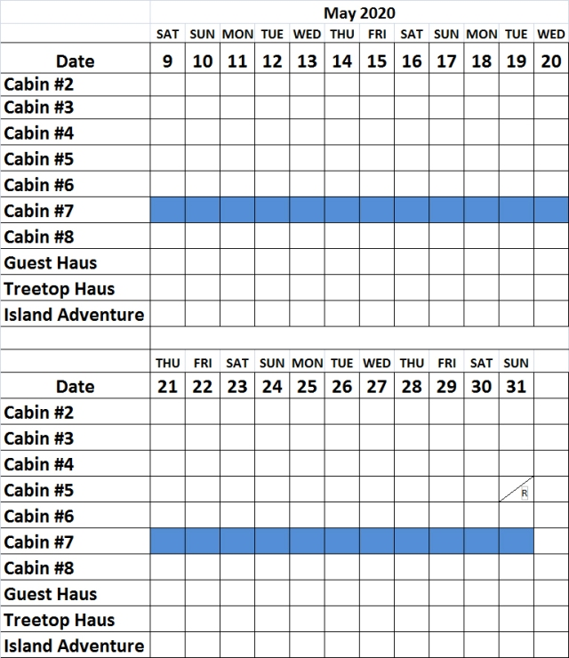 May Cabin Availability 2020