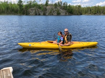 Kayaking with Dad on Jasper Lake!