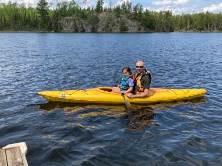 Kayaking with Dad on Jasper Lake!