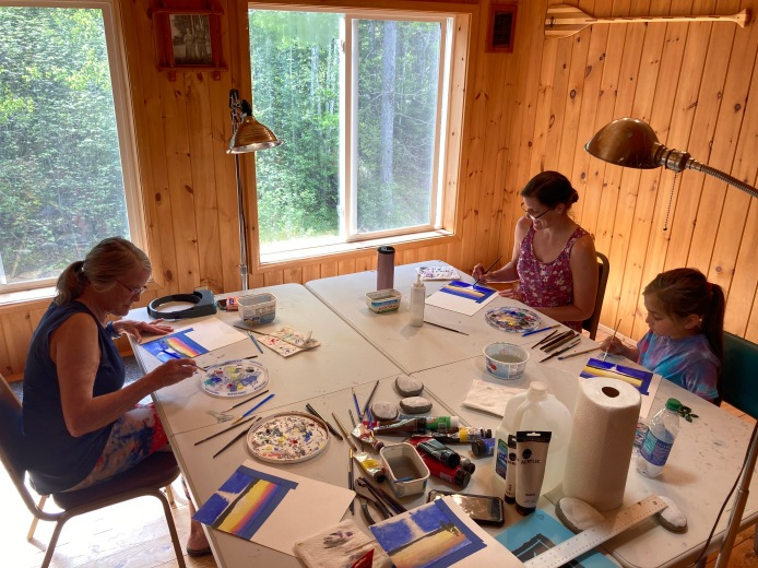 Art lessons at Northwind Lodge, Ely MN