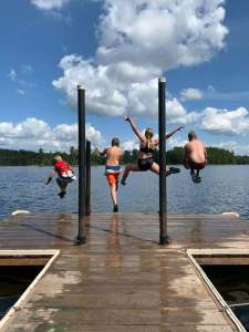 It's time for a flyin' leap off the dock - Jasper Lake, Ely MN
